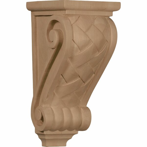10H x 4 1/2W x 5D Medium Basket Weave Corbel in Hard Maple by Ekena Millwork