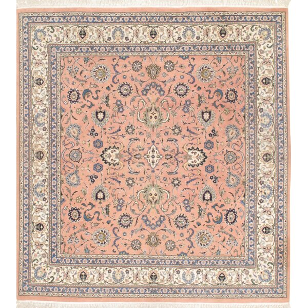 Kashan Hand Knotted Wool Rose/Ivory Area Rug by Pasargad NY