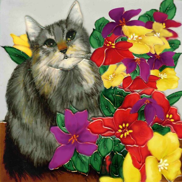 Gray Cat with Flowers Tile Wall Decor by Continental Art Center