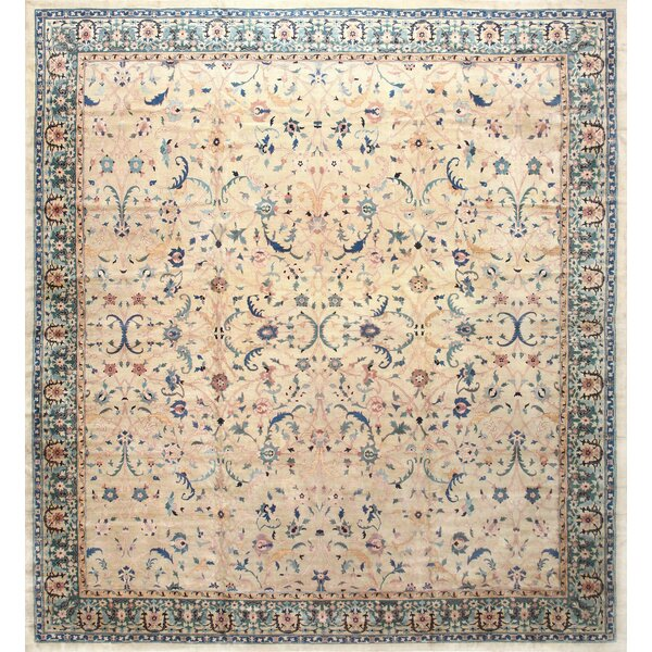 One-of-a-Kind Agra Hand-Knotted 1920s Blue 14'7 x 15'7 Wool Area Rug