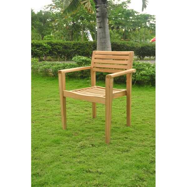 Douthat Stacking Teak Patio Dining Chair by Rosecliff Heights