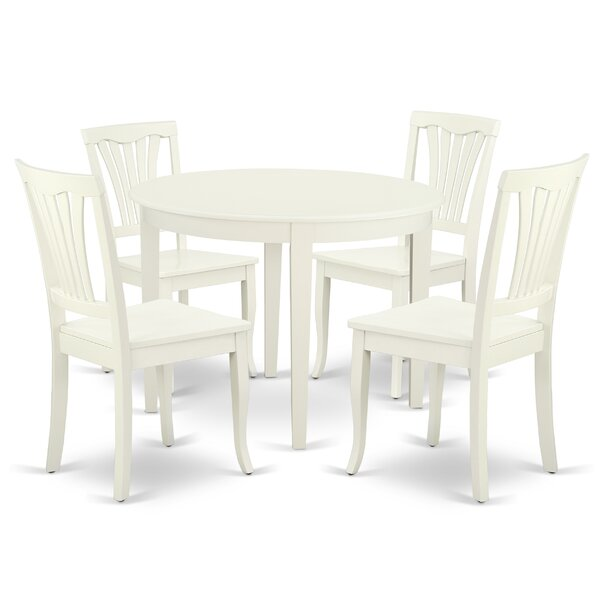 Lach 5 Piece Solid Wood Breakfast Nook Dining Set by August Grove
