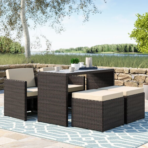 Insley 5 Piece Dining Set With Cushion By Beachcrest Home