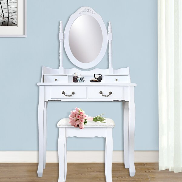 Kistler Wood 4 Drawer Vanity Set with Mirror by Ophelia & Co.