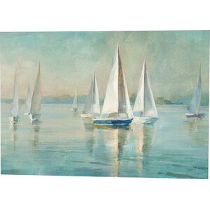 'Sailboats at Sunrise' Print by Beachcrest Home