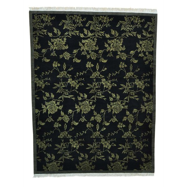 One-of-a-Kind Dimas Modern Tibetan Botanical Oriental Hand-Knotted Black Area Rug by World Menagerie