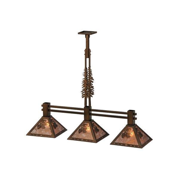 Winter Pine Tall Pines 3-Light Kitchen Island Pendant by Meyda Tiffany