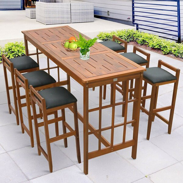 Spector Prairie School Style 7 Piece Dining Set with Cushions by Gracie Oaks