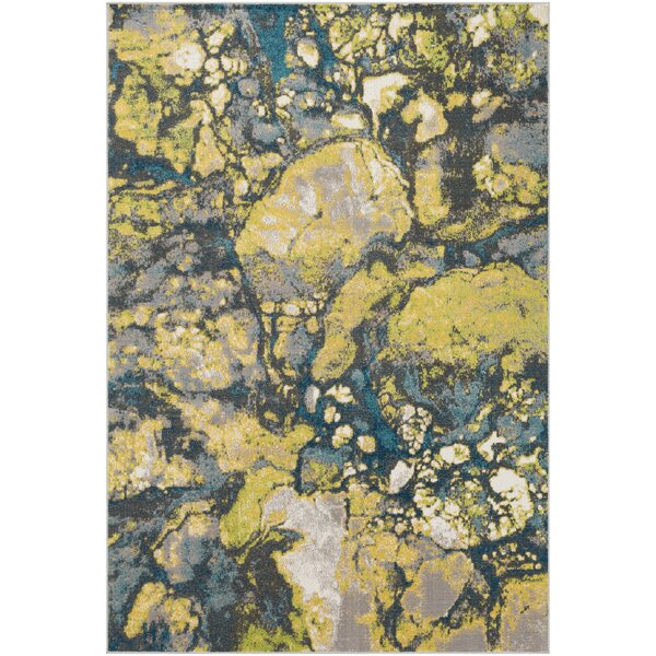 Ramm Abstract Lime/Cyan Area Rug by Bungalow Rose