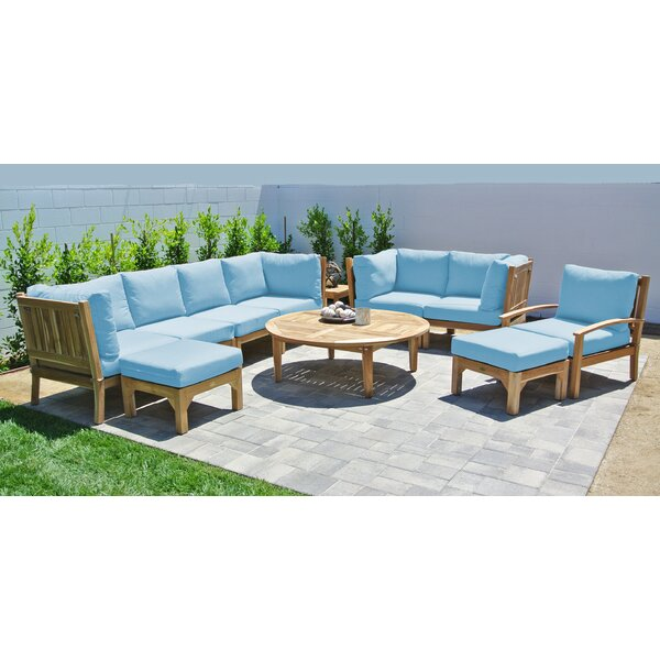 Crescio 11 Piece Teak Sectional Seating Group with Sunbrella Cushions by Foundry Select