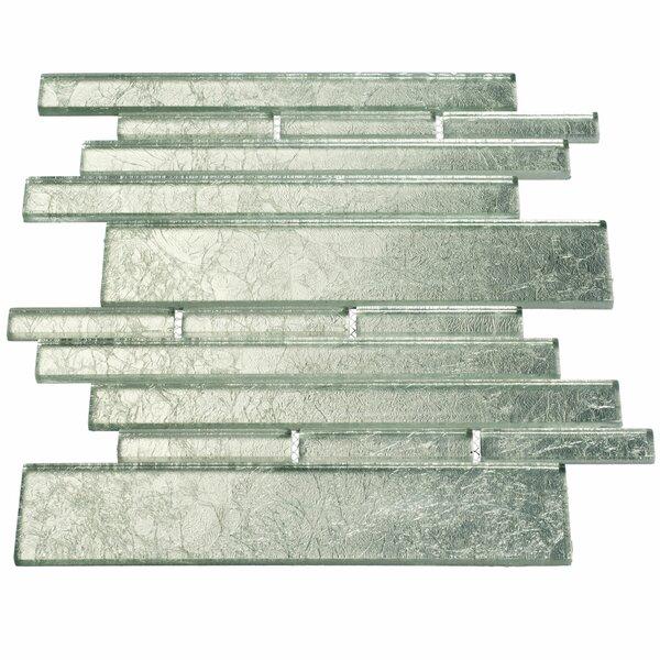 Club Random Sized Glass Mosaic Tile in Silver by Giorbello
