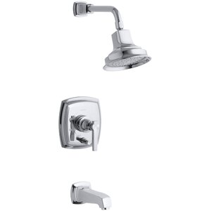 Margaux Rite-Temp Pressure-Balancing Bath and Shower Faucet Trim with Push-Button Diverter and Lever Handle, Valve Not Included