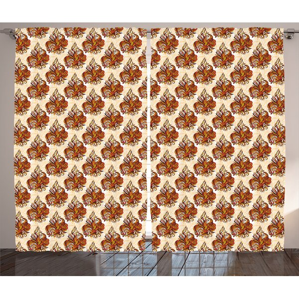 Vitavou Batik Graphic Print & Text Semi-Sheer Rod Pocket Curtain Panels (Set of 2) by World Menagerie