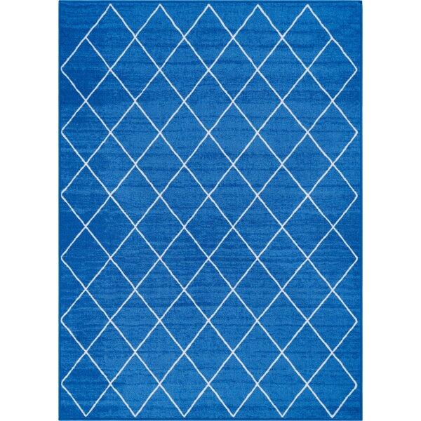Franck Moroccan Trellis Blue Area Rug by Wrought Studio