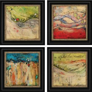 'Passing' 4 Piece Framed Painting Print Set by Brayden Studio