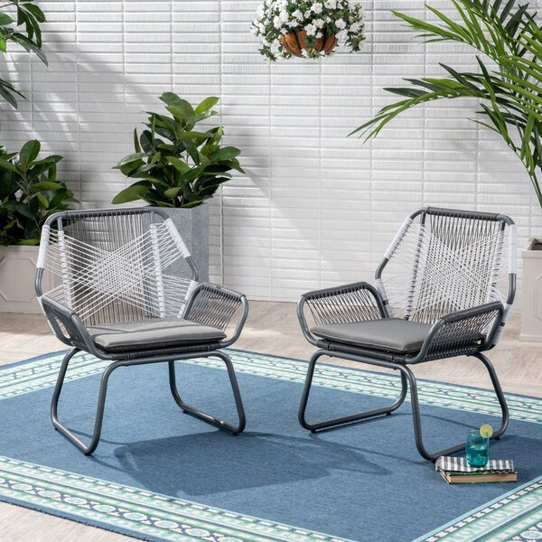 Ava Patio Chair With Cushions (Set Of 2) By Bungalow Rose by Bungalow Rose Comparison