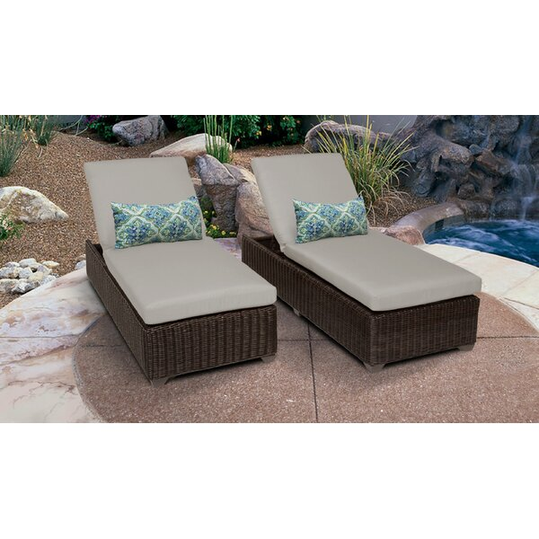 Mejia Reclining Sun Lounger Set with Cushion (Set of 2) by Rosecliff Heights