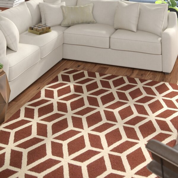Aidyn Hand-Knotted Brick/Ivory Area Rug by Mercury Row