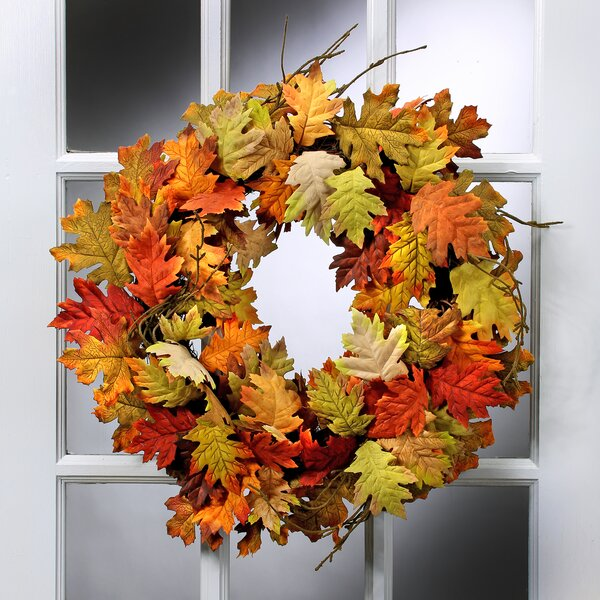 24 Oak and Maple Leaf Mixed Wreath by August Grove