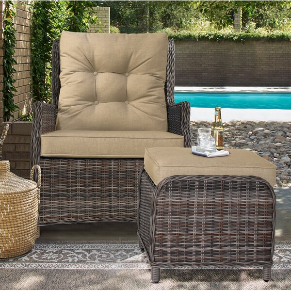 Cardoza Outdoor Recliner Patio Chair with Cushions and Ottoman by Darby Home Co