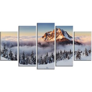 'Winter Mountain Landscape' 5 Piece Wall Art on Wrapped Canvas Set by Design Art