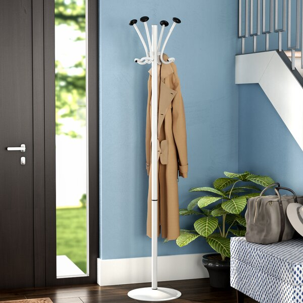 Free Standing 8 Hook Aluminum Coat Rack by Mind Reader
