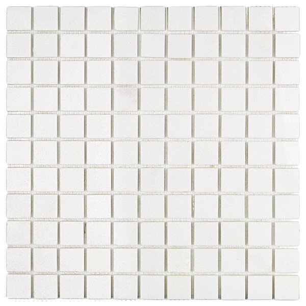 Thassos Brick Joint 1 x 1 Marble Mosaic Tile in White by Splashback Tile