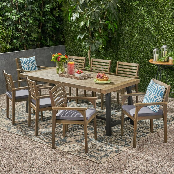 Efird Outdoor 9 Piece Dining Set With Cushions By Highland Dunes