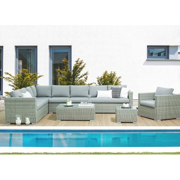 Driscoll 4 Piece Rattan Sectional Seating Group with Cushions by Brayden Studio