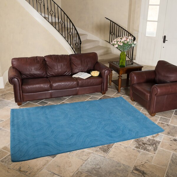Hand-Tufted Turquoise Area Rug by Harbormill