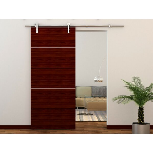 Stainless Steel Stick Strap Rolling Wood/Glass Barn Door Hardware Kit by Custom Service Hardware