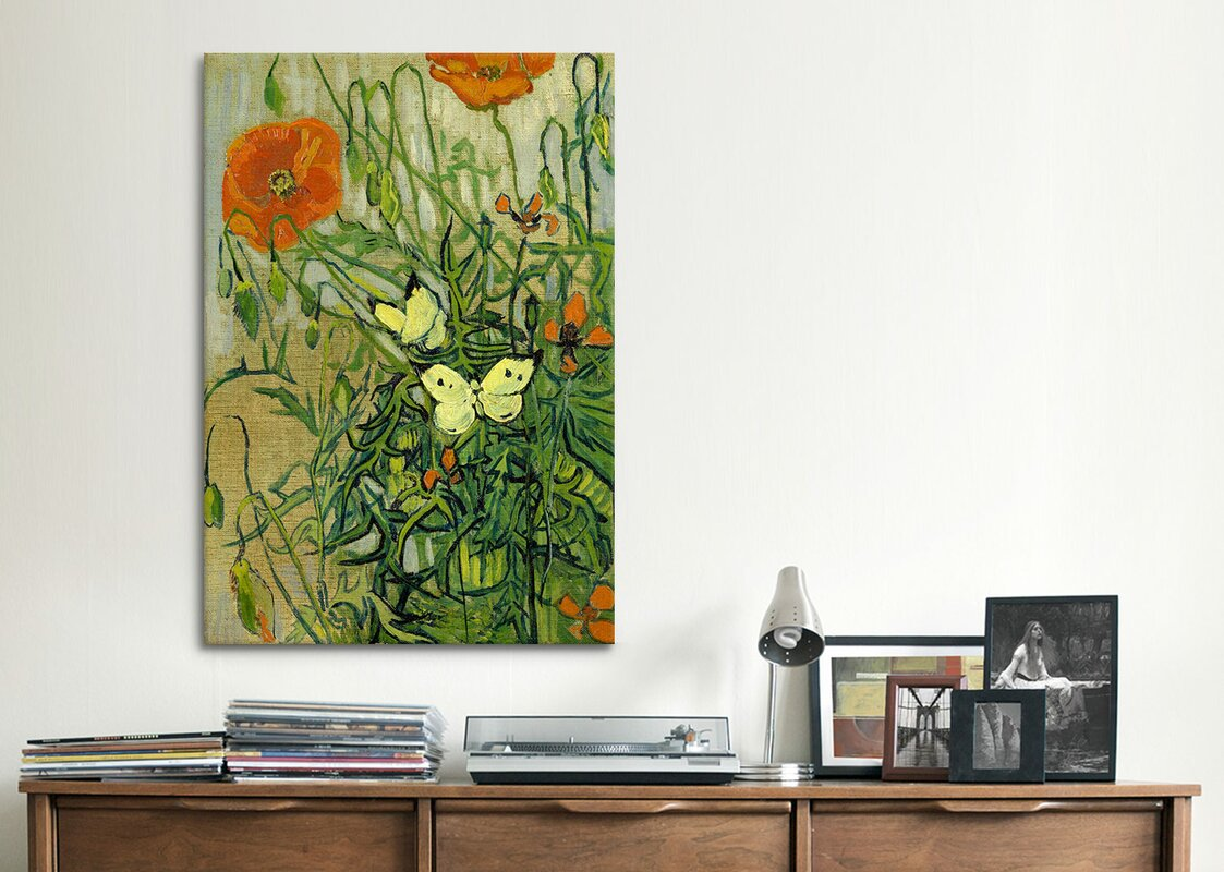 39butterflies and poppies39 by vincent van gogh graphic art for Best brand of paint for kitchen cabinets with white butterfly wall art