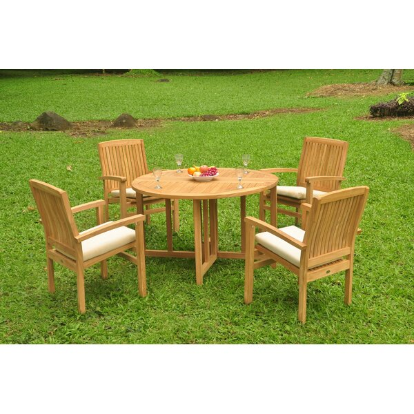 Nibbi 5 Piece Teak Dining Set by Rosecliff Heights