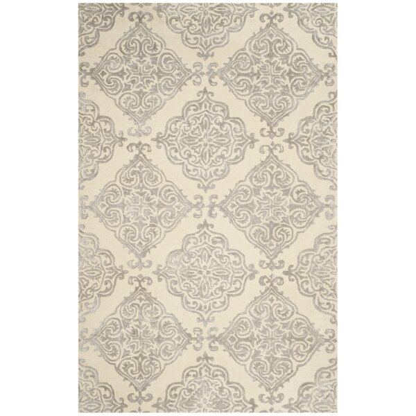 Bernon Hand-Tufted Ivory/Silver Area Rug by One Allium Way