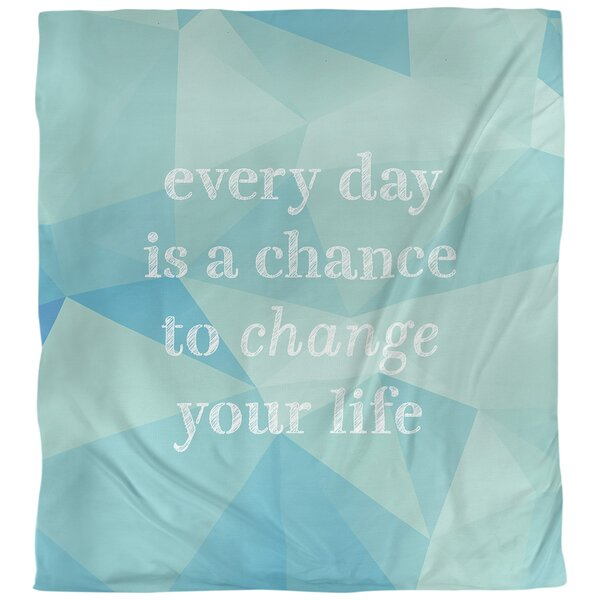 Quotes Faux Gemstone Change Your Life Single Reversible Duvet Cover