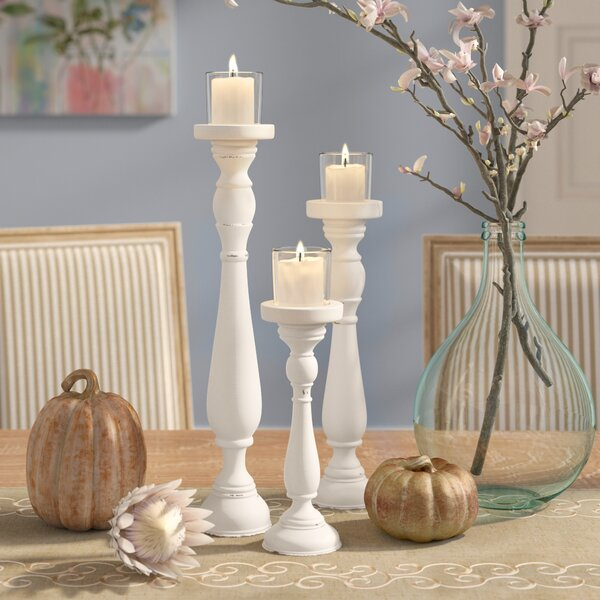 Shabby 3 Piece Candlestick Set by One Allium Way