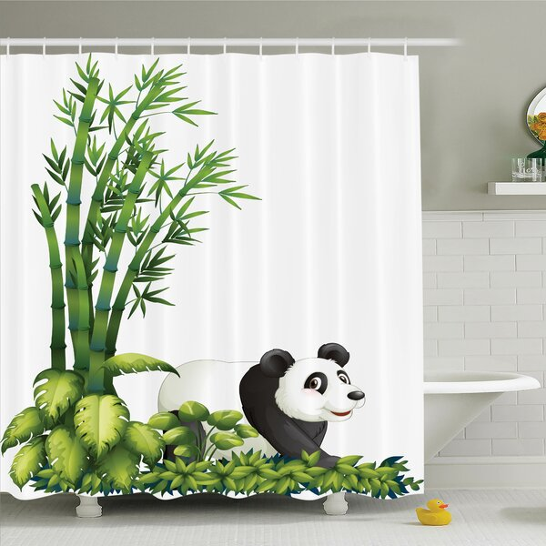 Lizbeth Cute Panda Bear Bamboo Shower Curtain Set by Zoomie Kids