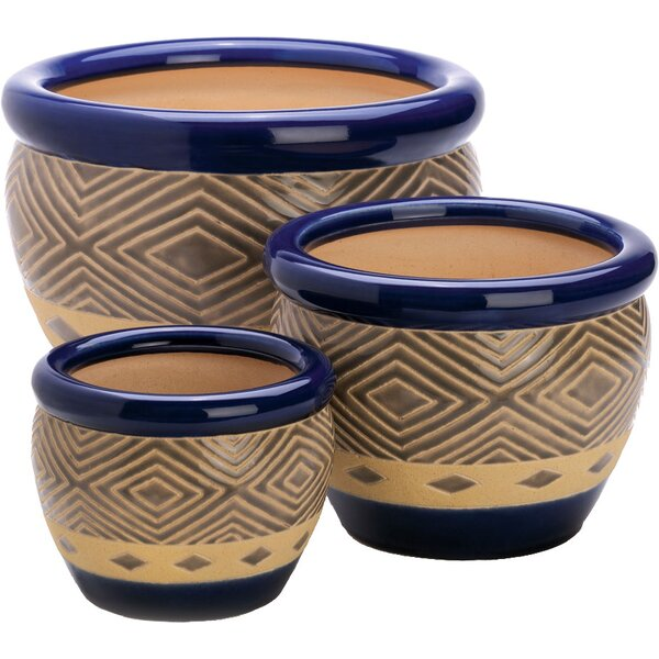 Adamsdale 3-Piece Ceramic Pot Planter Set by World Menagerie