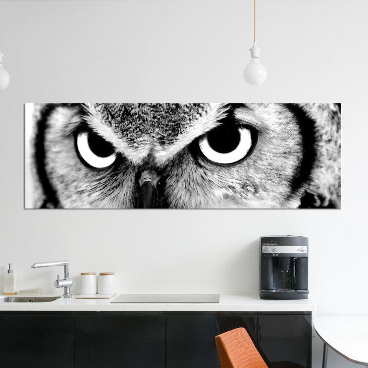 COFFEE OWL KITCHEN FUNKY MODERN CANVAS WALL ART PRINT PICTURE READY TO HANG