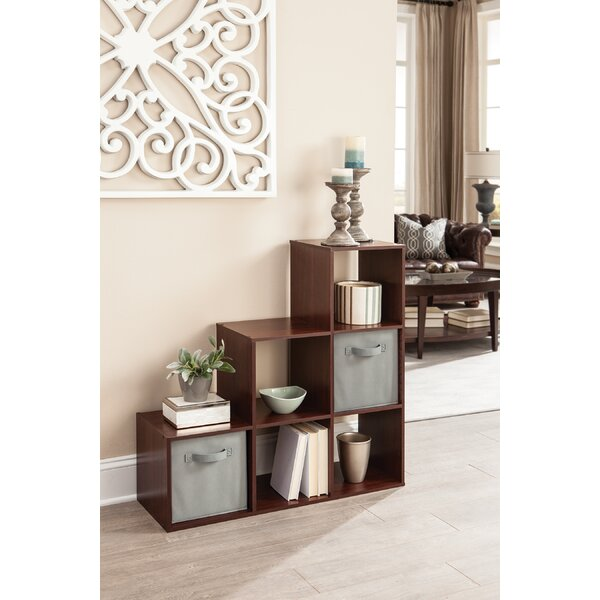 Buy Sale Cubeicals 3-2-1 Step Bookcase With 2 Fabric Bins