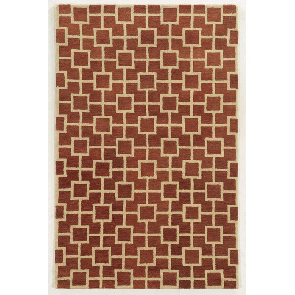 Limassol Hand-Tufted Rust/Ivory Area Rug by Meridian Rugmakers