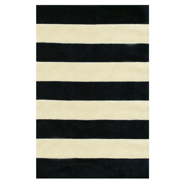 Ansorge Stripes Hand-Tufted Black/Beige Area Rug by Ivy Bronx