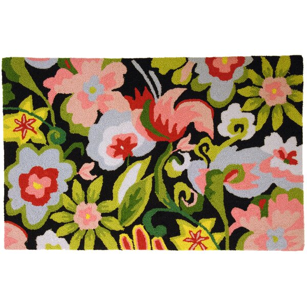 Barnstable Watercolor Flowers on Black Area Rug by Bay Isle Home
