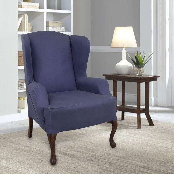 Compare Price Stretch Fit Box Cushion Wingback Slipcover