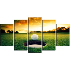 'Golf Ball Near Hole' 5 Piece Photographic Print on Wrapped Canvas Set by Design Art