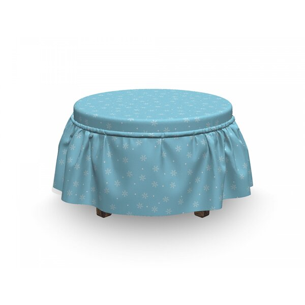 Review Winter Soft Snowfall On Blue 2 Piece Box Cushion Ottoman Slipcover Set