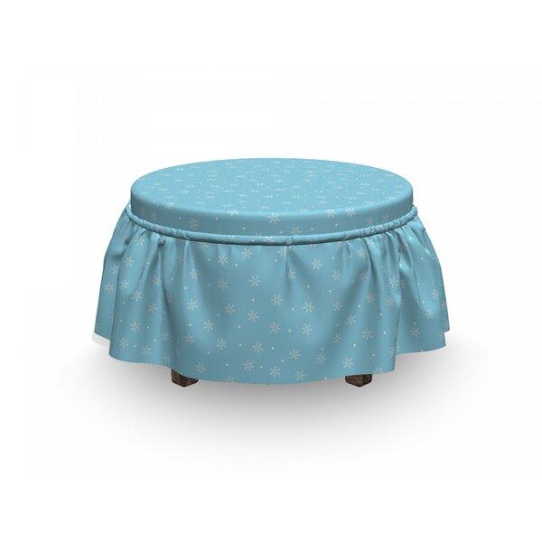 Winter Soft Snowfall On Blue 2 Piece Box Cushion Ottoman Slipcover Set By East Urban Home