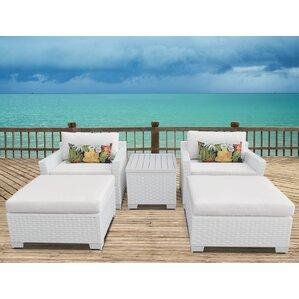 Monaco Outdoor Wicker Patio 5 Piece Conversation Set With Cushions