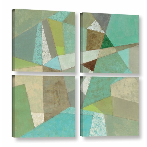 Spa Geo Metric 4 Piece Graphic Art on Wrapped Canvas Set by Corrigan Studio