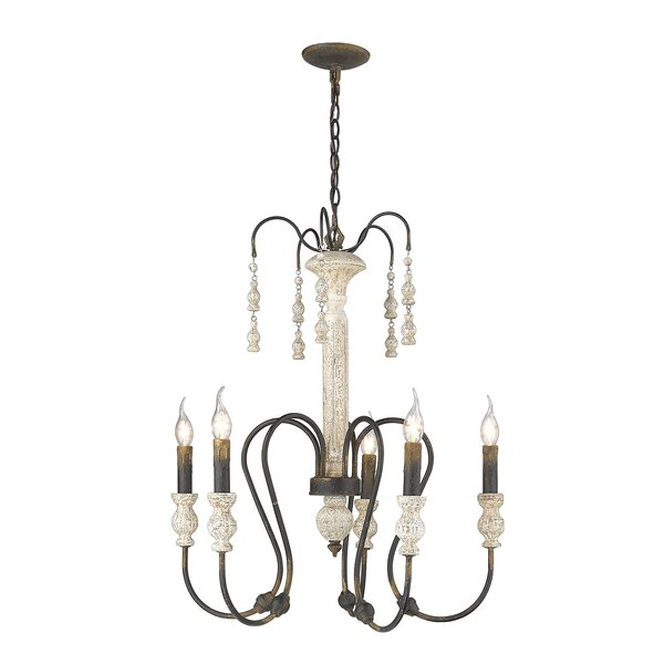 Sherrie 5 - Light Candle Style Classic / Traditional Chandelier with Wood Accents by Bungalow Rose Bungalow Rose